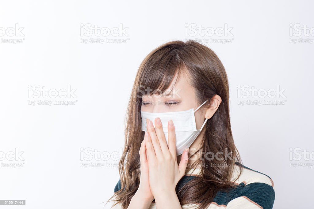 Japanese women have a mask stock photo