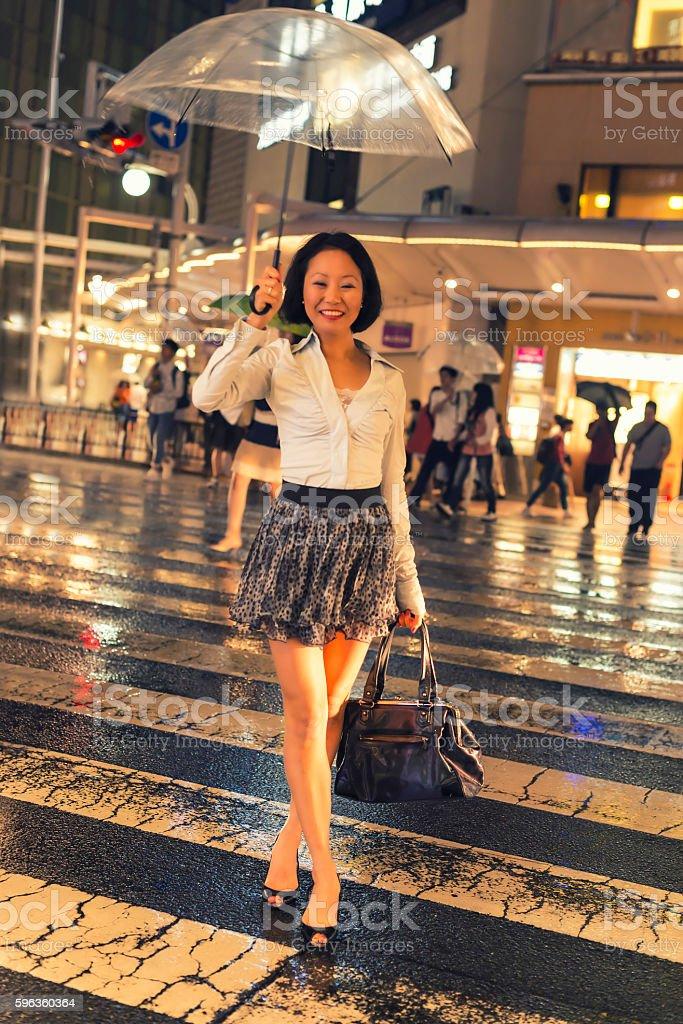 Japanese women in rain at night stock photo