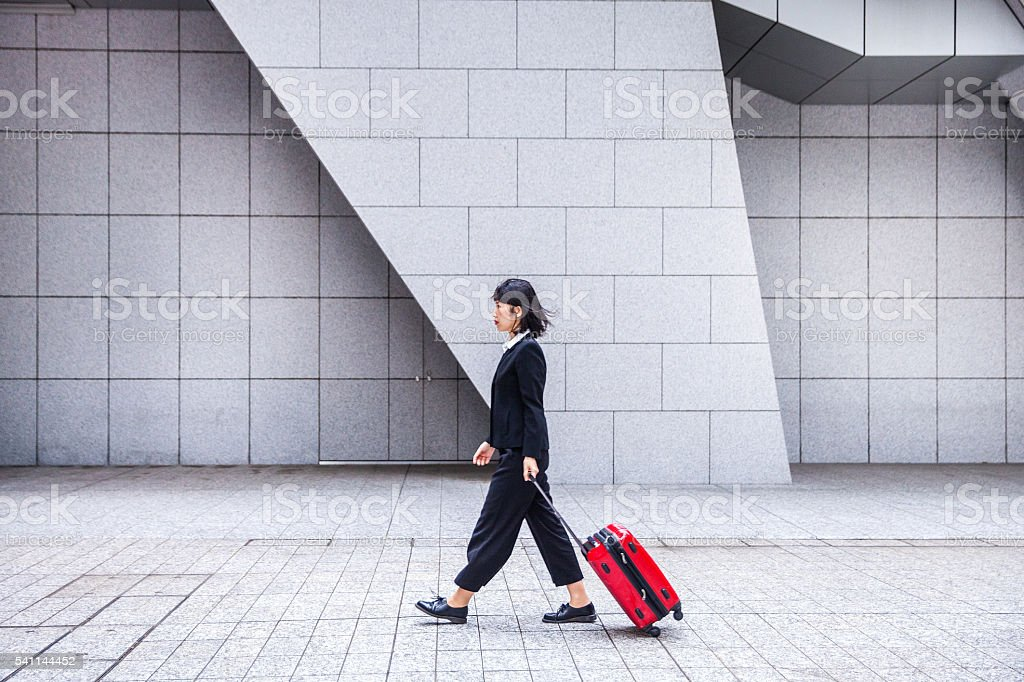 Japanese women on travel in downtown Tokyo stock photo