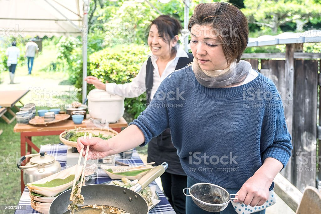 Japanese Women Prepare Lunch and Welcome Guests to Backyard Picnic stock photo
