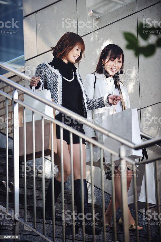 2 Japanese Women Shopping royalty-free stock photo