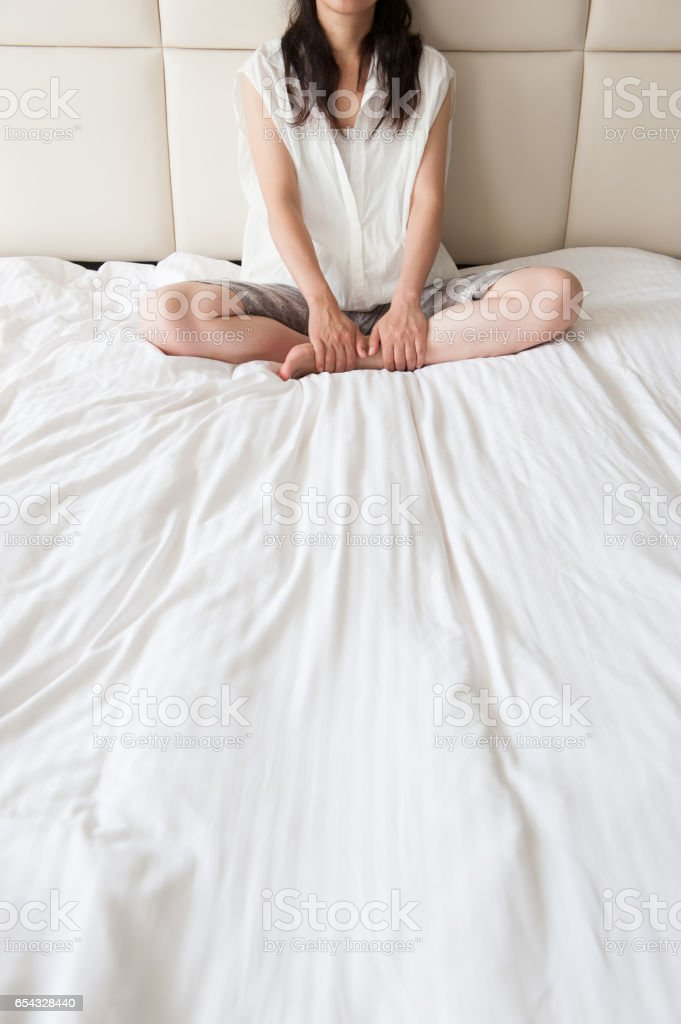 Japanese women to relax in bed stock photo