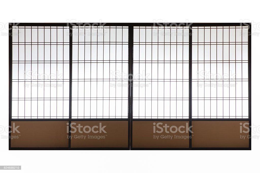 Japanese wood slid door isolated on white background stock photo