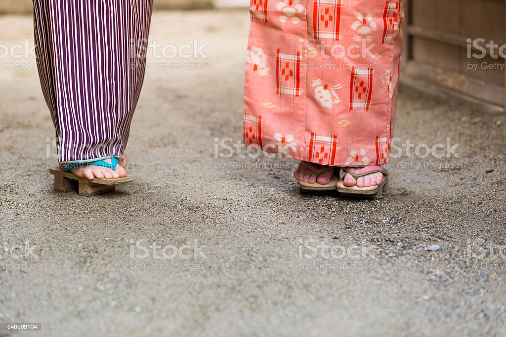 Japanese Wooden Footwear or also called Geta stock photo