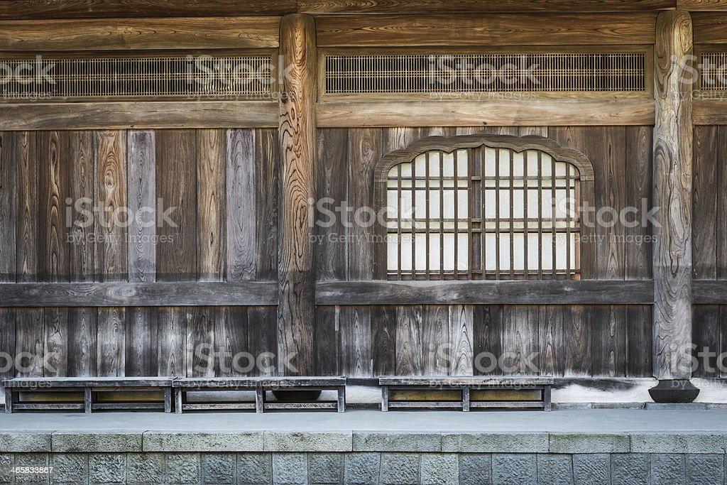 Japanese temple detalles del interior de madera foto de stock libre de derechos