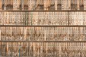 Japanese Writing on Weathered Bamboo at Fushimi Inari-taisha Shrine Kyoto