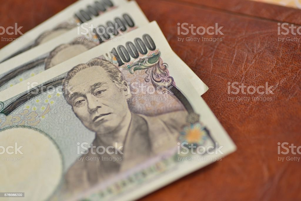 Japanese yen bills(Ten thousands japanese yen) stock photo