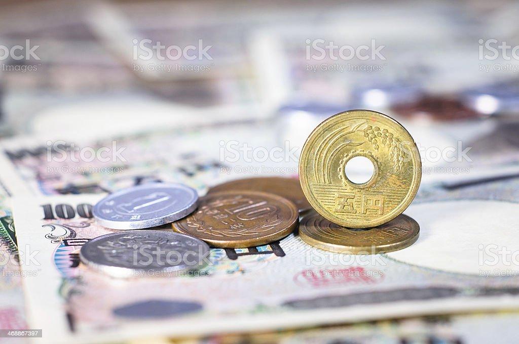 Japanese yen coin and Yen Bank Note stock photo