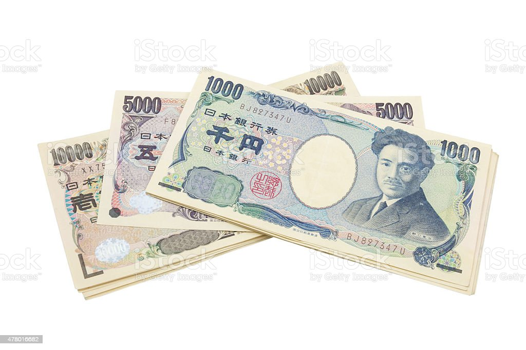 japanese yen notes. Currency of Japan on white background stock photo