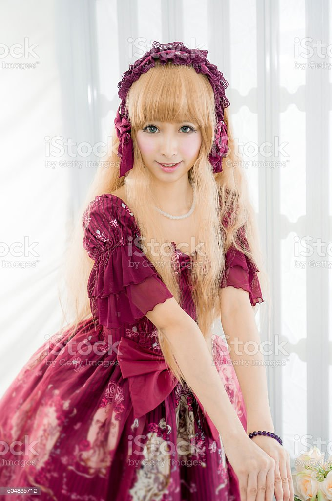 japanese style lolita maid cosplay cute girl stock photo