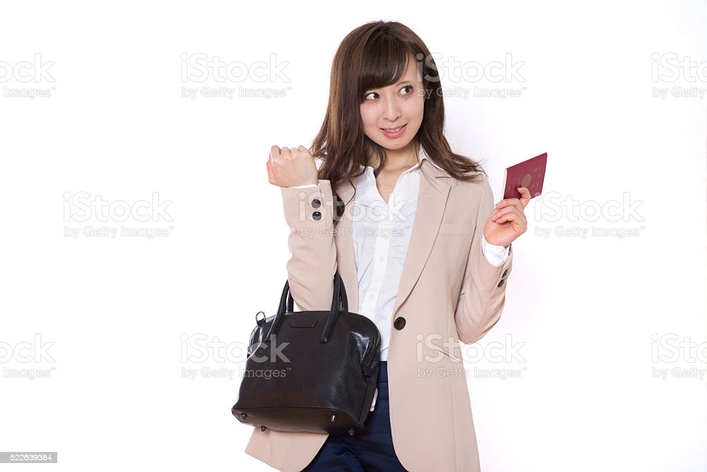 Japanese young woman making a short trip stock photo