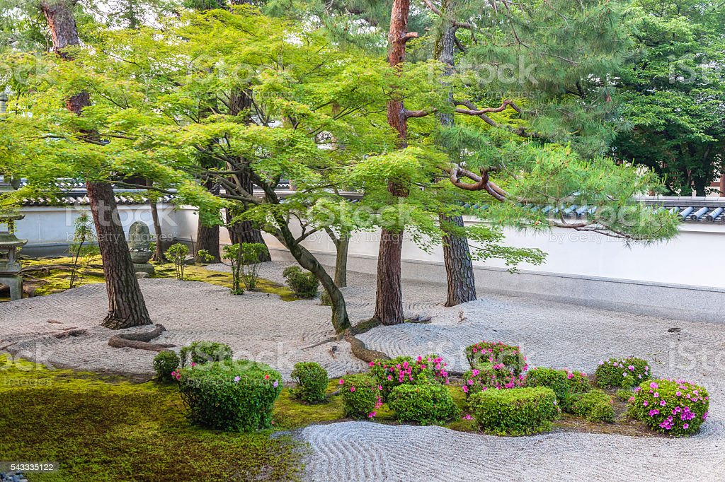 Japanese Zen Garden from Hyakumanben Chion-ji Temple, Kyoto, stock photo