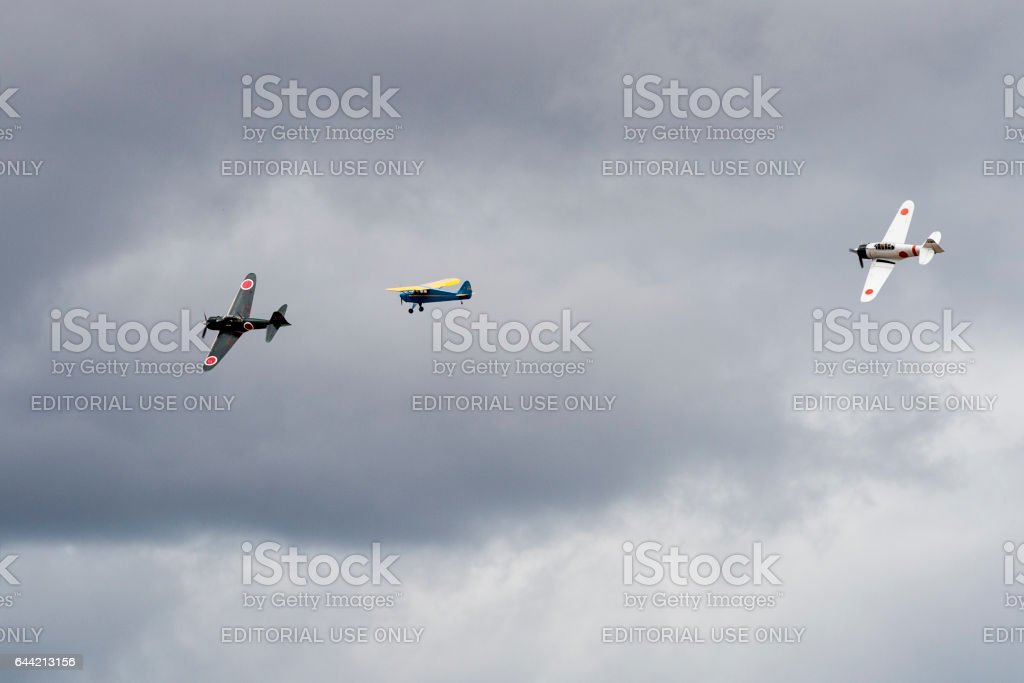 Japanese Zero A6M2 A6M3 and Interstate Cadet Airshow 2016 Oregon stock photo
