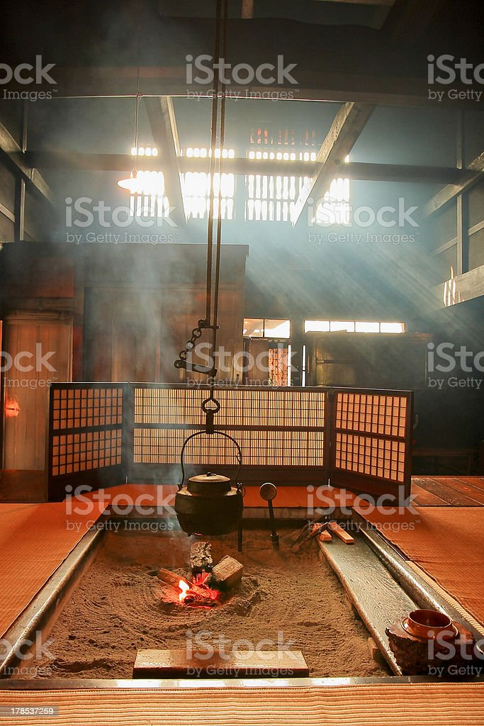 japanese-style Teapot and amazing light ray in japan living room stock photo
