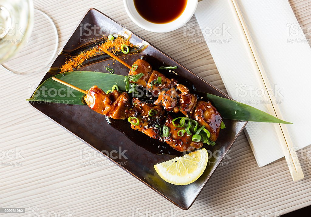 japanise grilled chicken barbecue stock photo