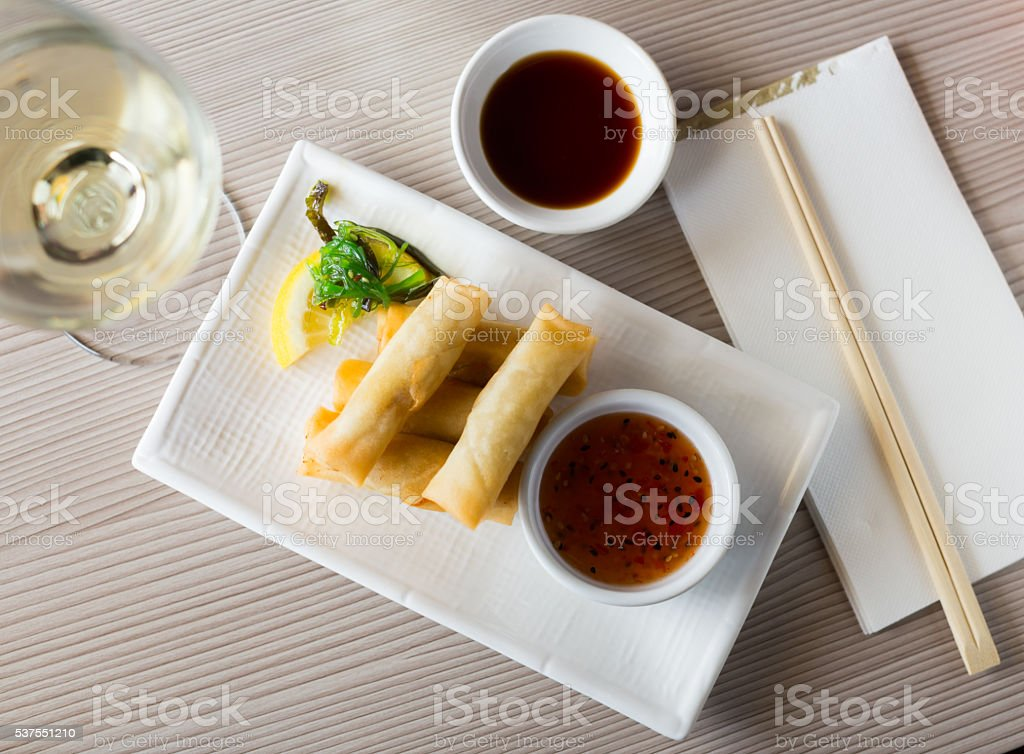 japanise harumaki with vegetables in the restaurant stock photo