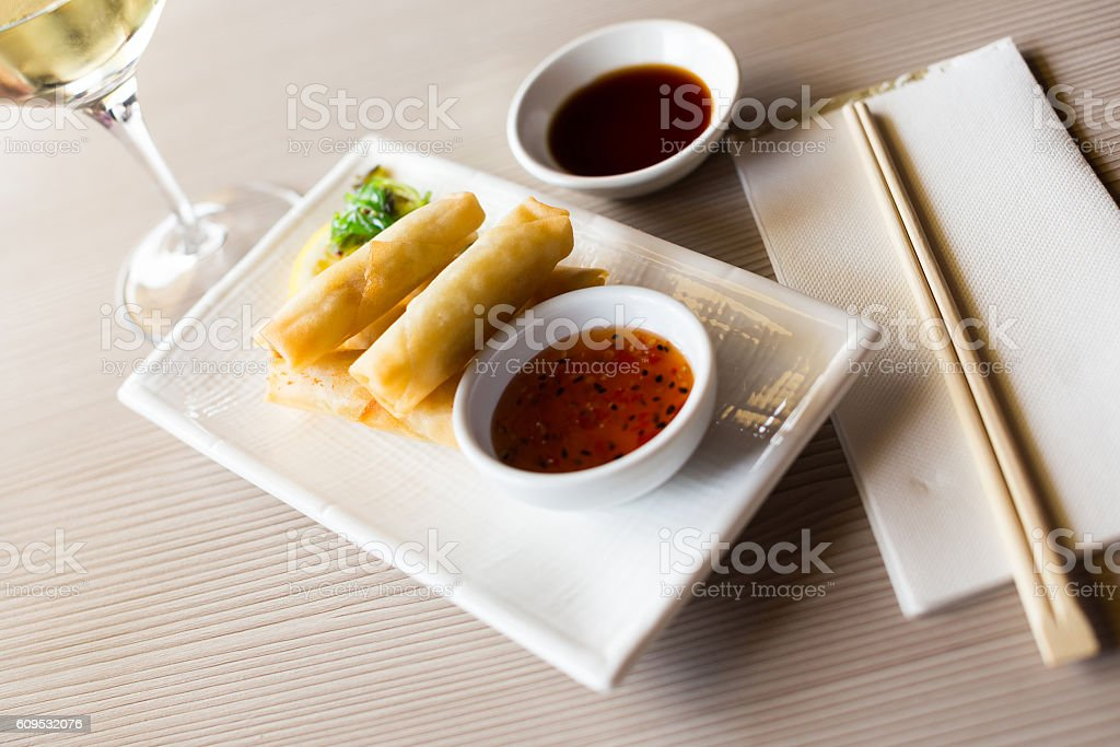 japanise meal harumaki on the plate stock photo