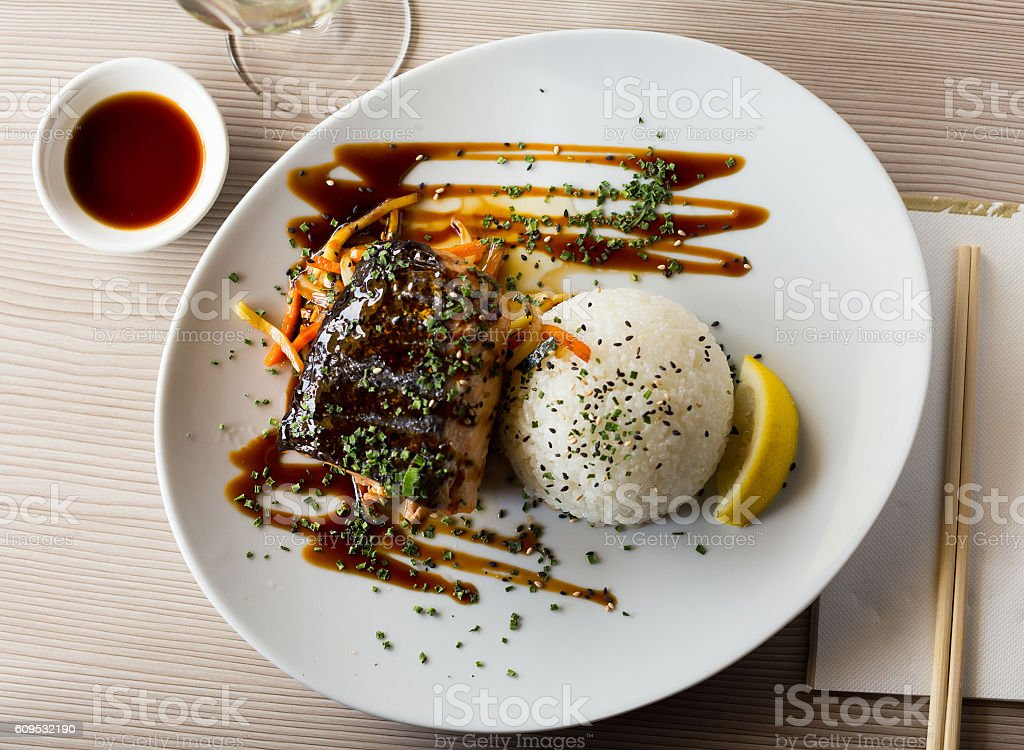 japanise style salmon shake teriyaki stock photo