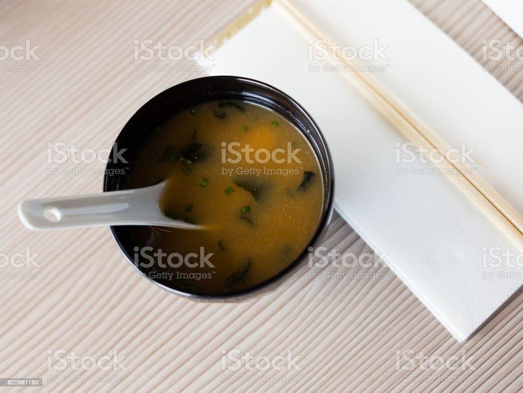 japanise style soup misoshiru stock photo