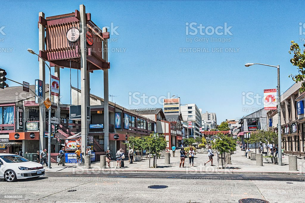 Japantown Neighborhood of San Francisco with Visitors stock photo