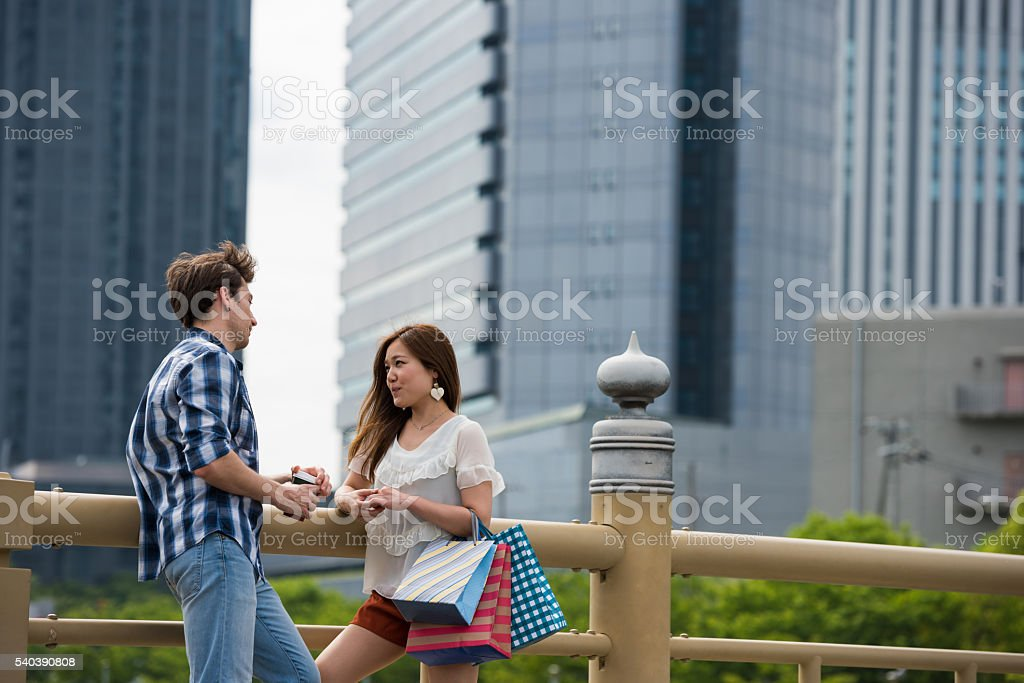 Japnese woman on a date stock photo