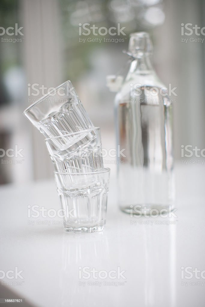 Jar and glass of water royalty-free stock photo
