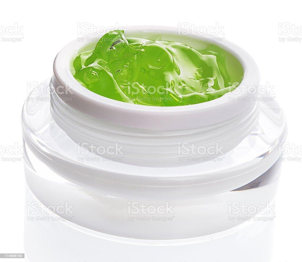 Jar containing Facial Gel stock photo