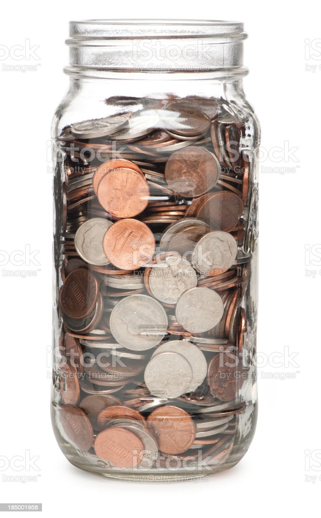 Jar Filled with Coins Money Isolated on White Background stock photo