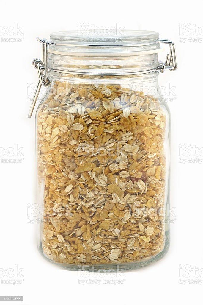 Jar full of muesli - white background royalty-free stock photo