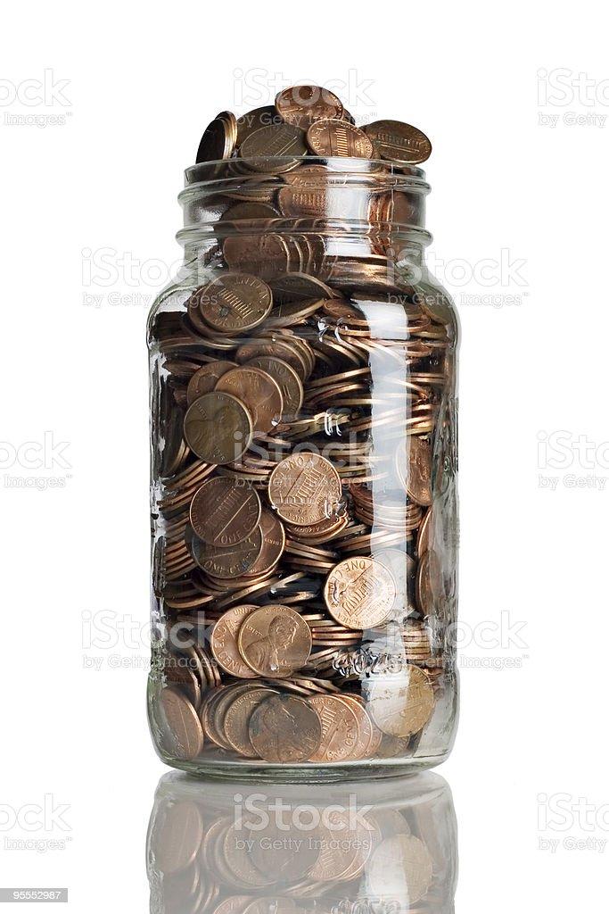 Jar full of pennies stock photo