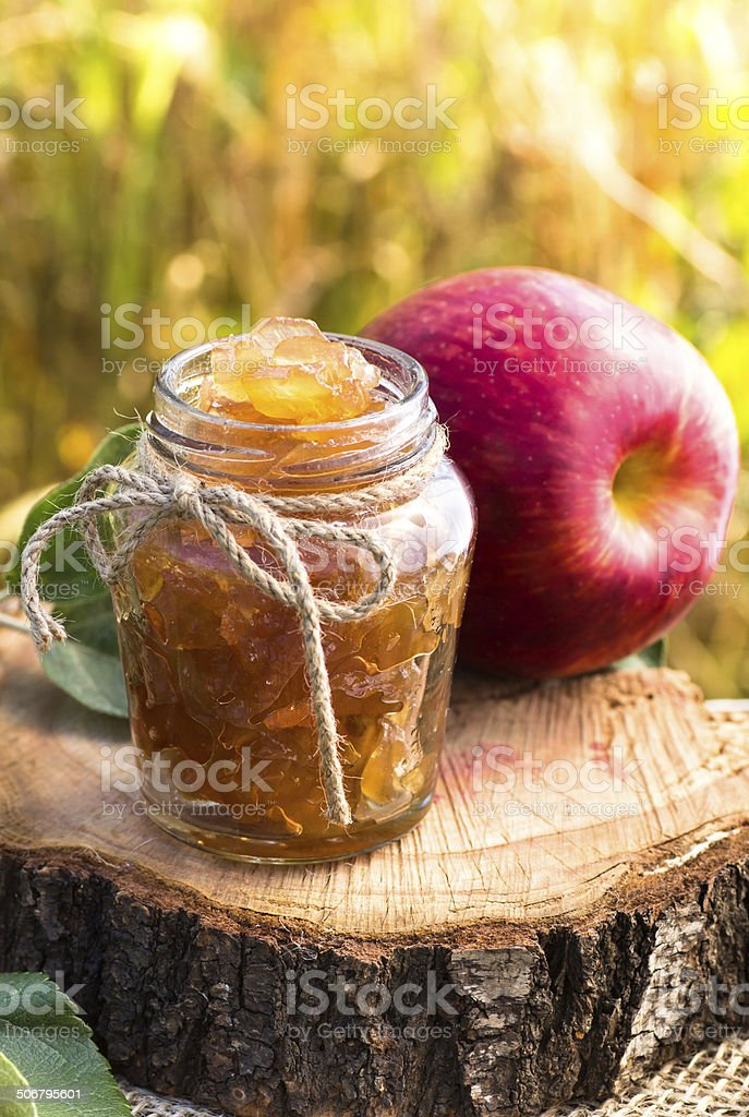 Jar of apple preserves stock photo