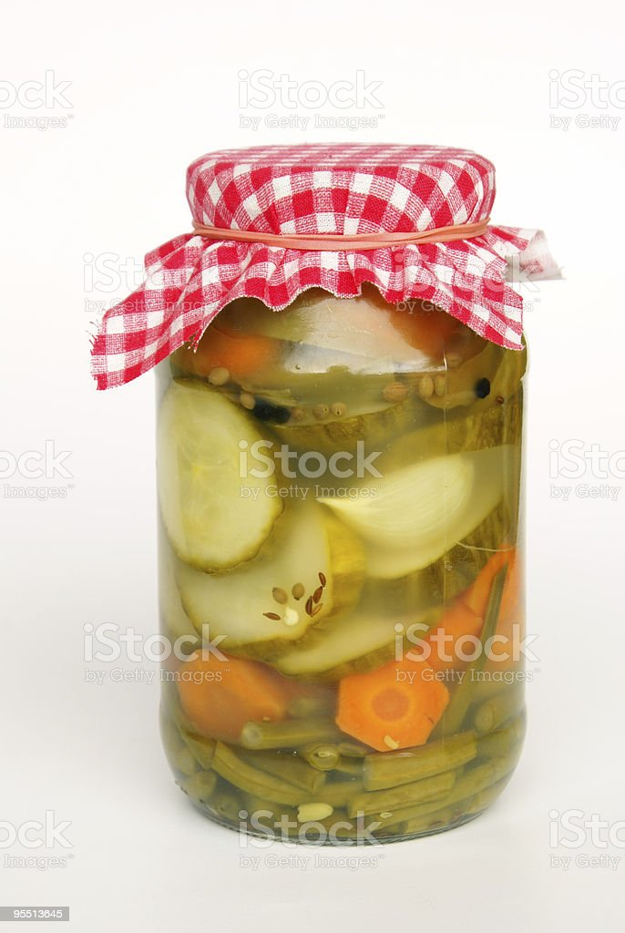 Jar of assorted pickles royalty-free stock photo