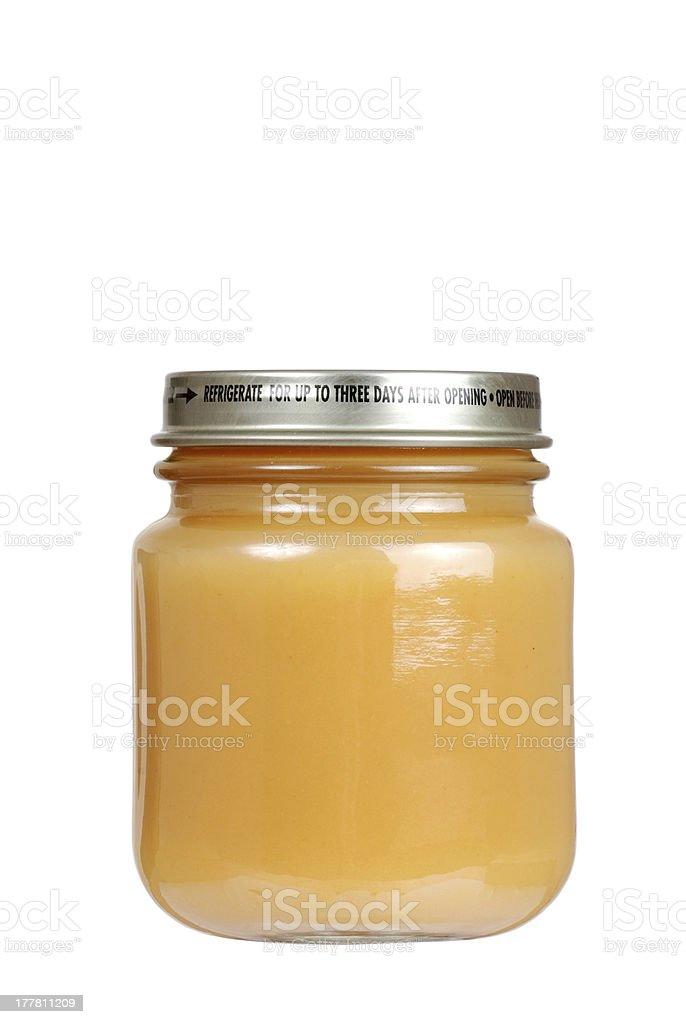 Jar of baby apple sauce stock photo