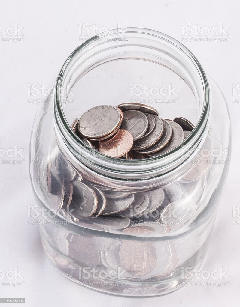 Jar of coins stock photo