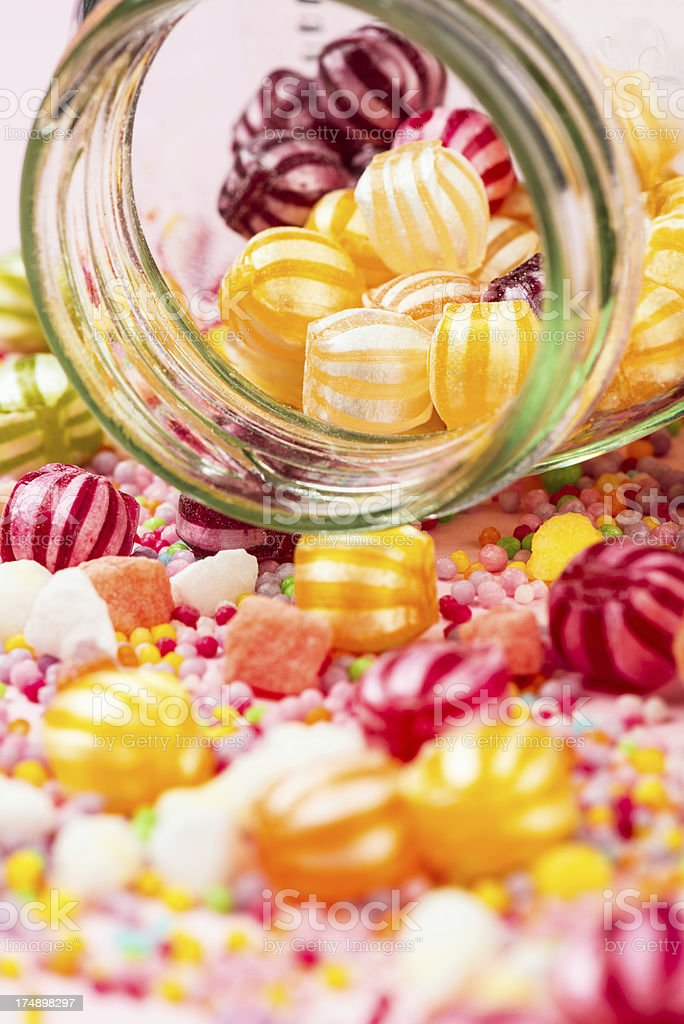 Jar of colorful candies royalty-free stock photo