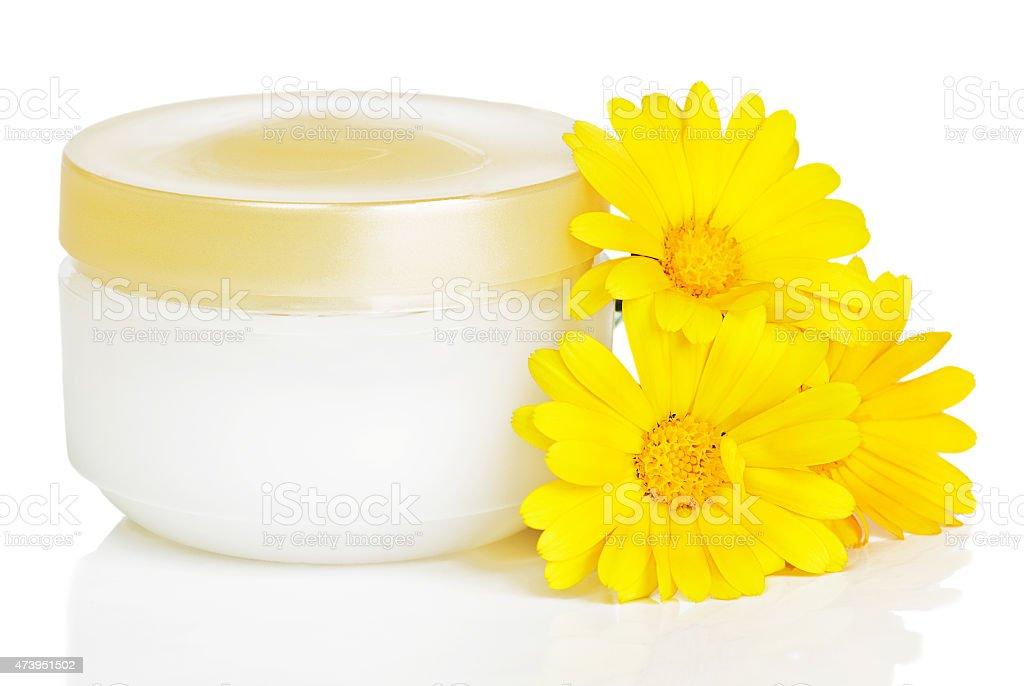 Jar of cream and calendula stock photo
