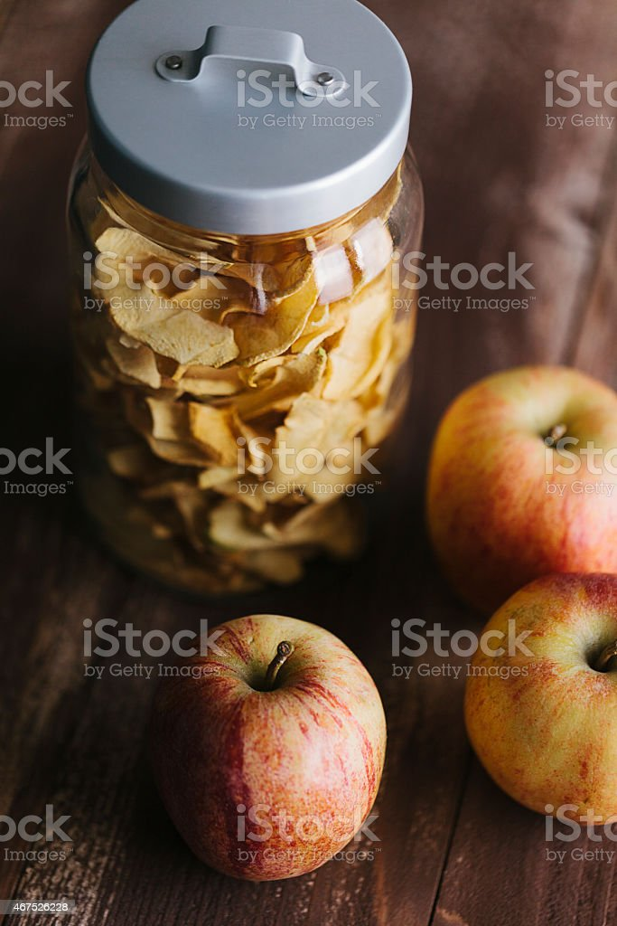 Jar of dried apple fruit stock photo