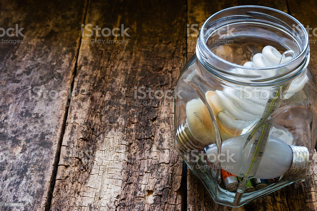 jar of hazardous waste and place for text stock photo