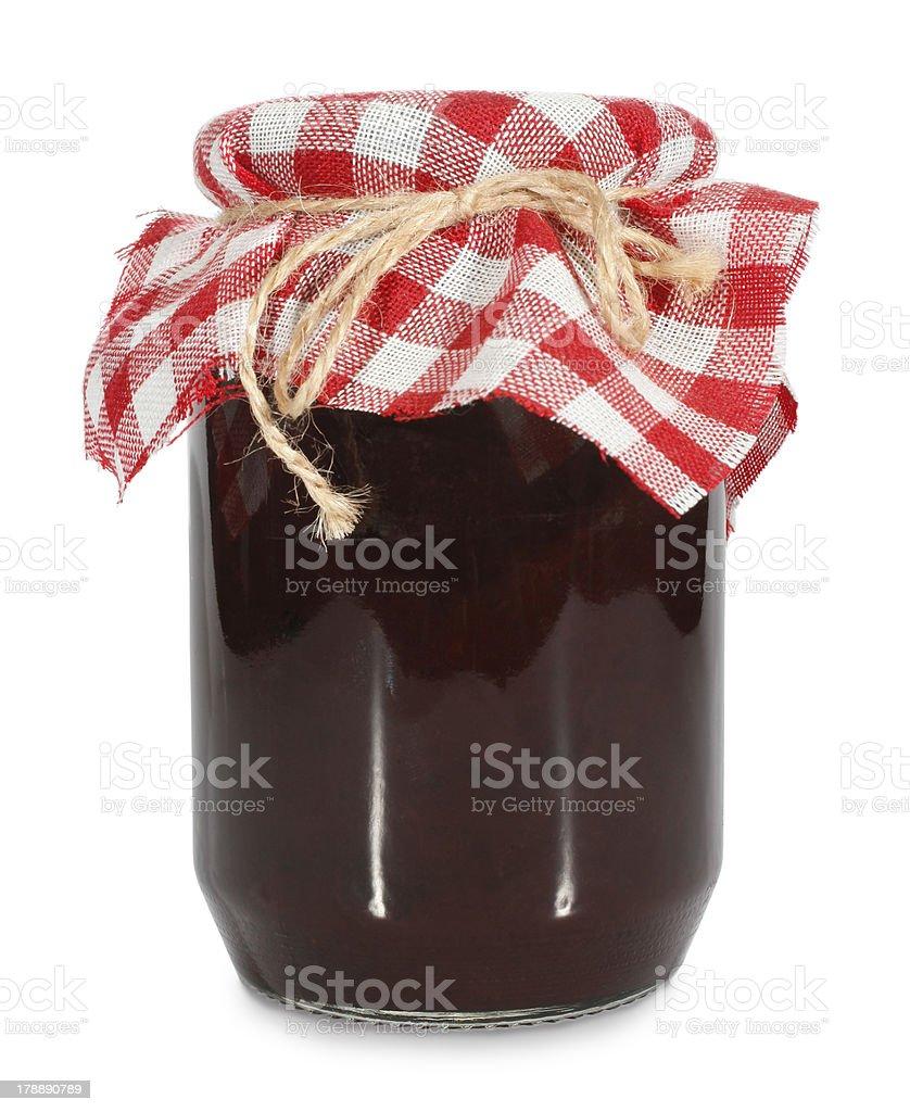 Jar of homemade jam or marmalade stock photo