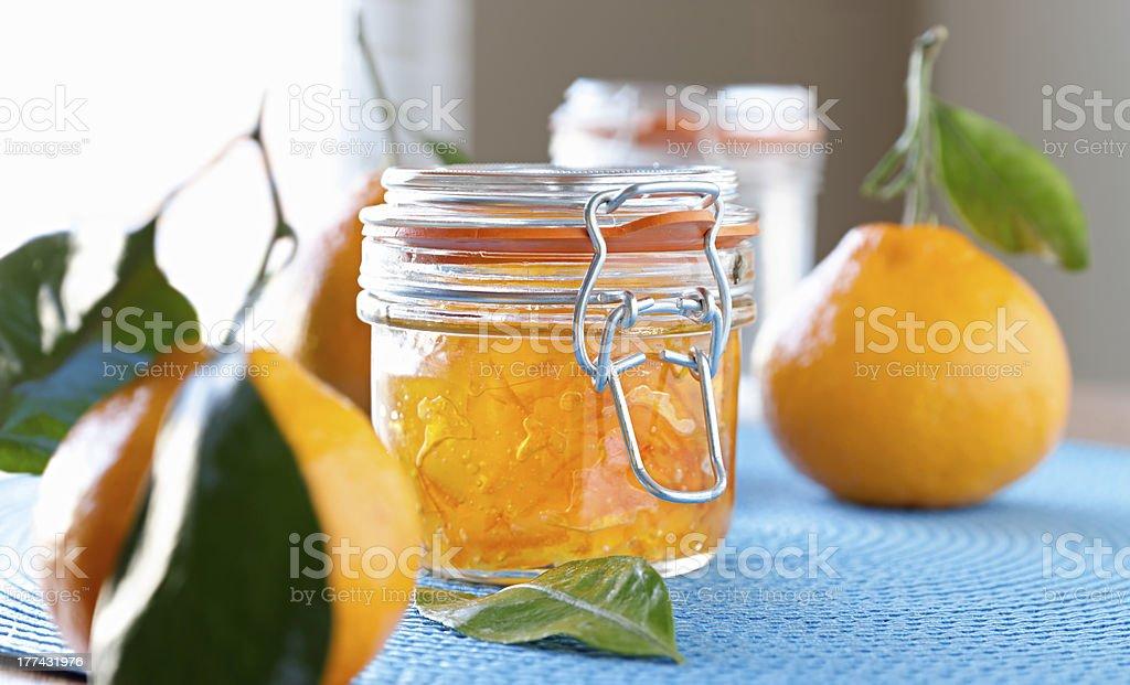 jar of homemade orange jam with wide aspect ratio royalty-free stock photo