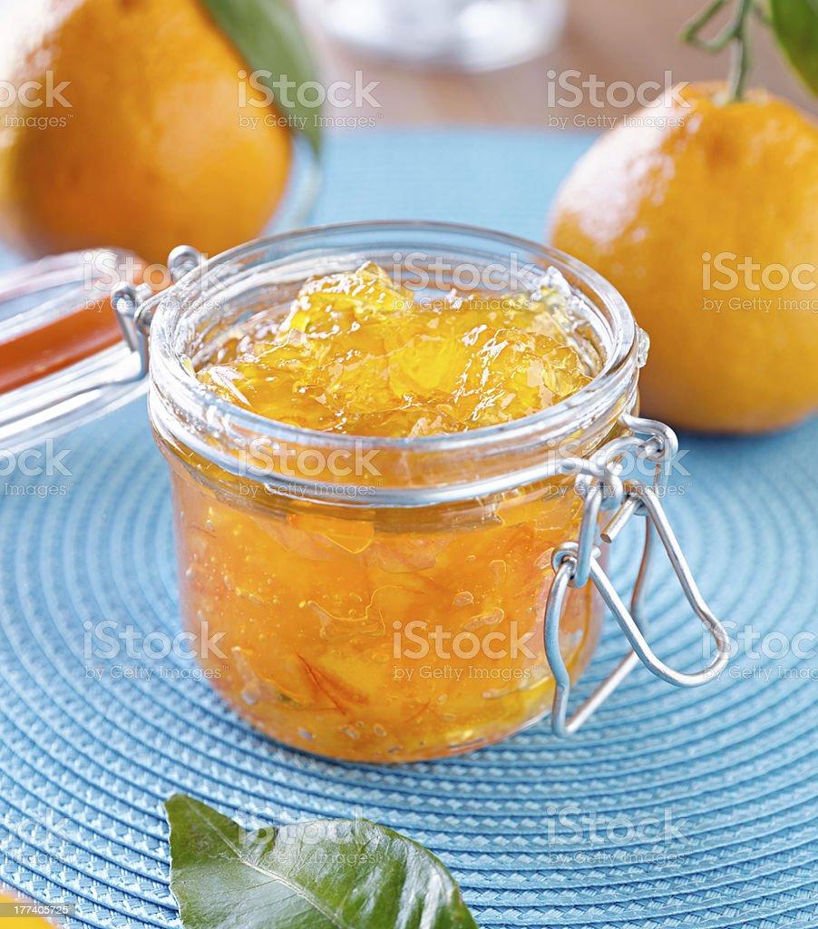 jar of homemade orange preserves royalty-free stock photo