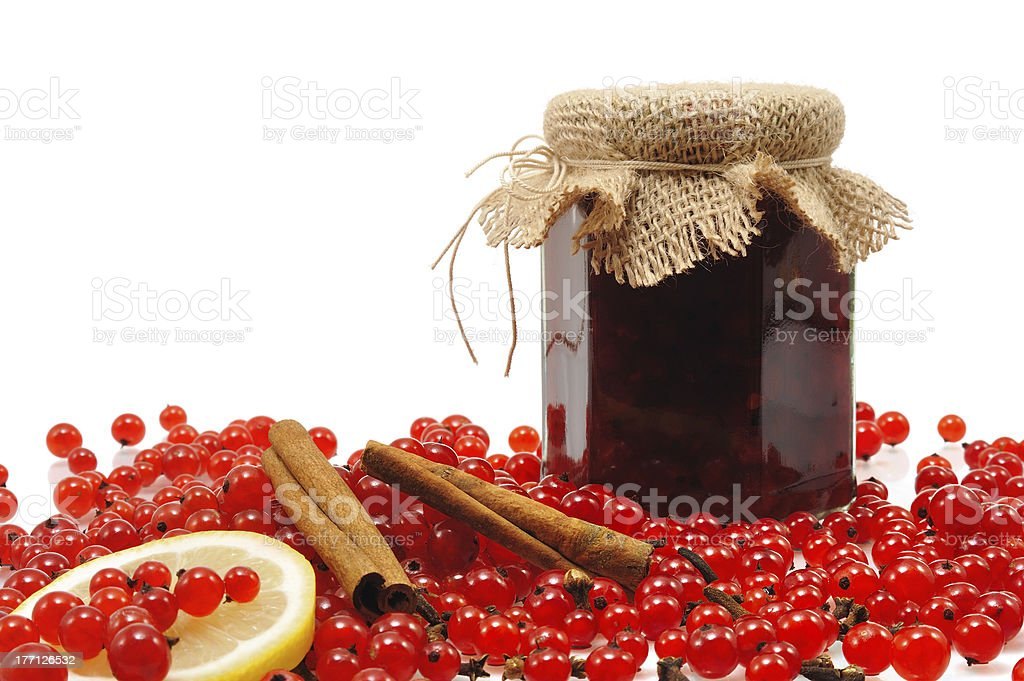 Jar of homemade red currant jam with fresh fruits royalty-free stock photo