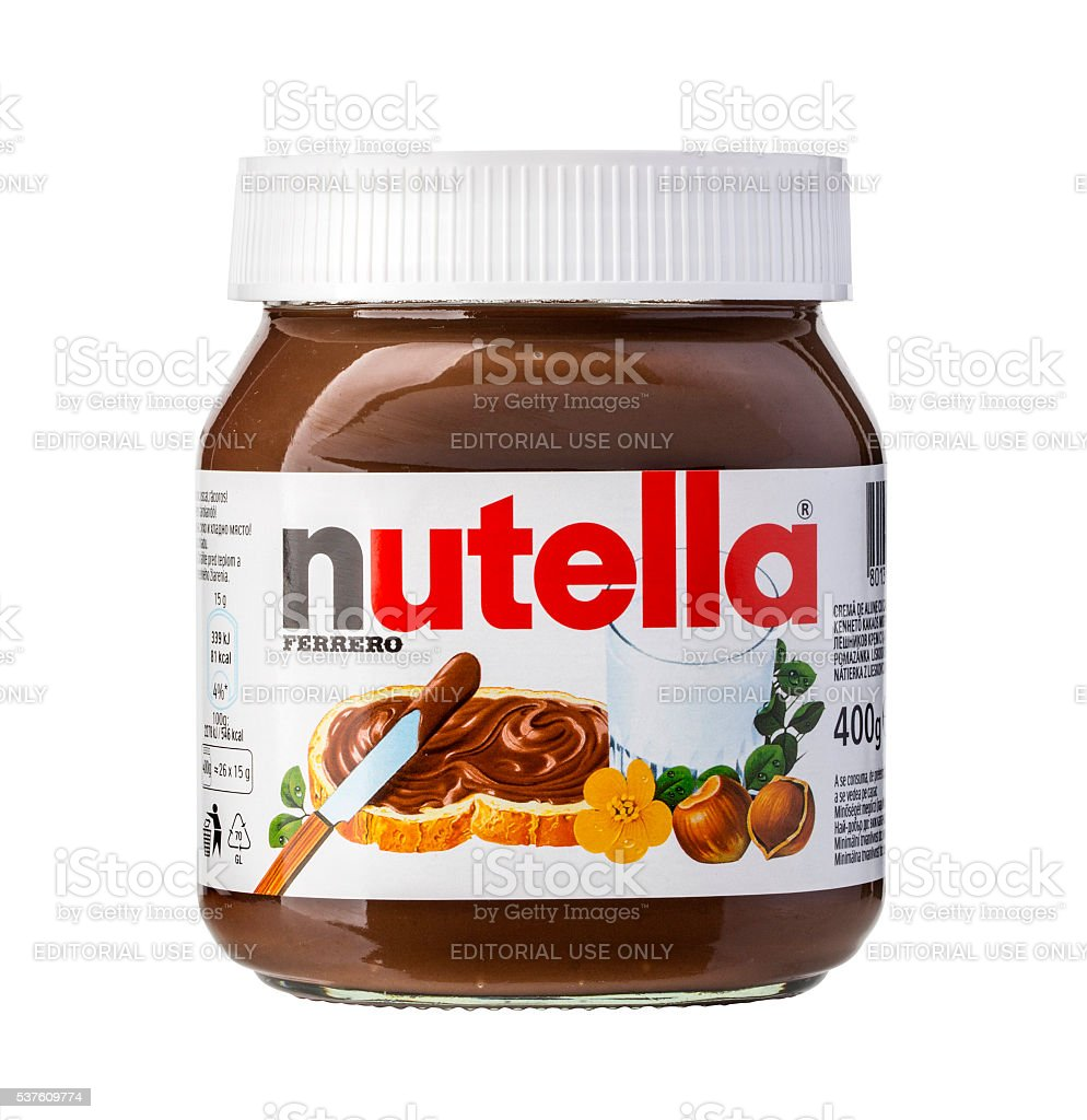 Jar of Italian Nutella hazelnuts cream stock photo