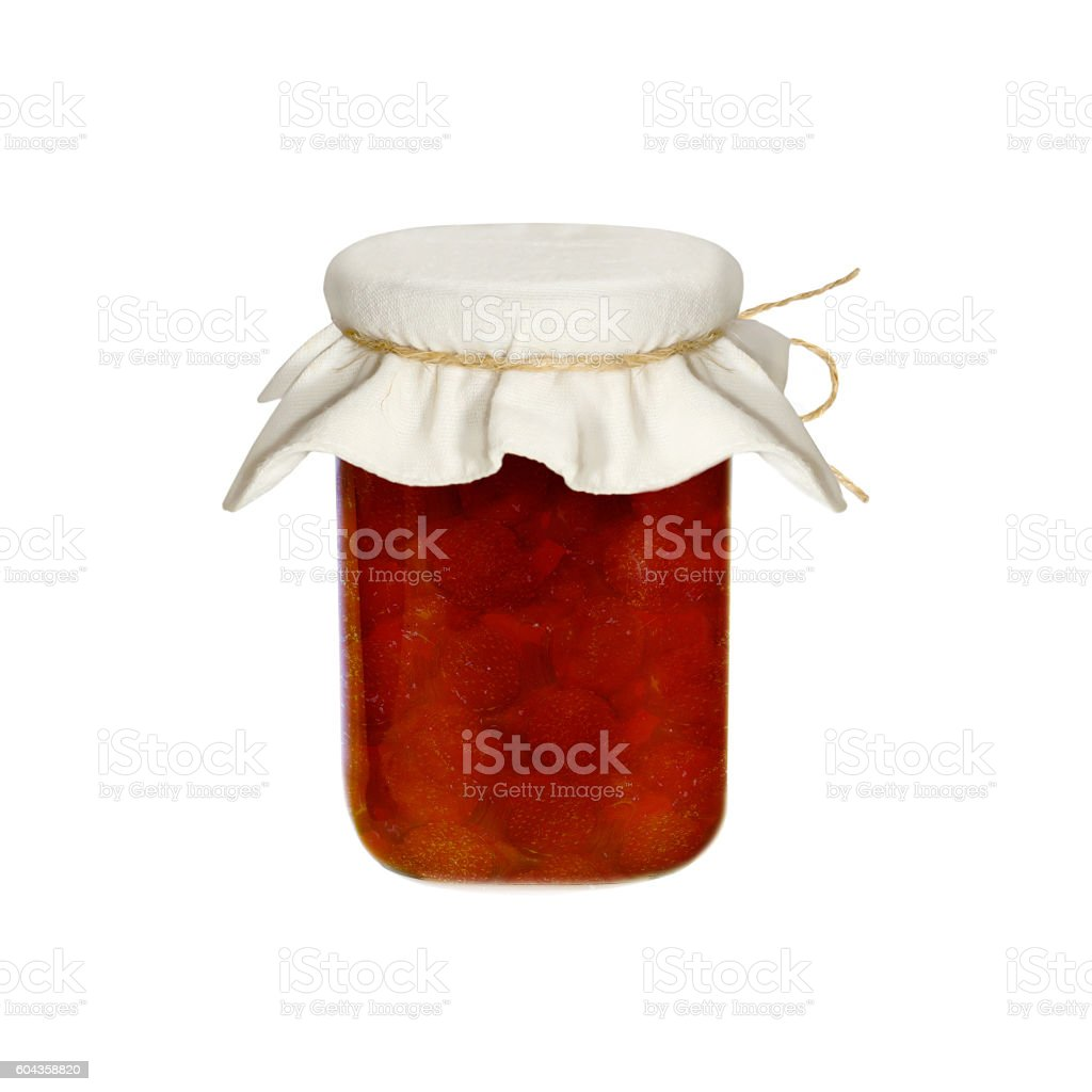Jar of jam isolated on a white background.  berries.Strawberries. stock photo