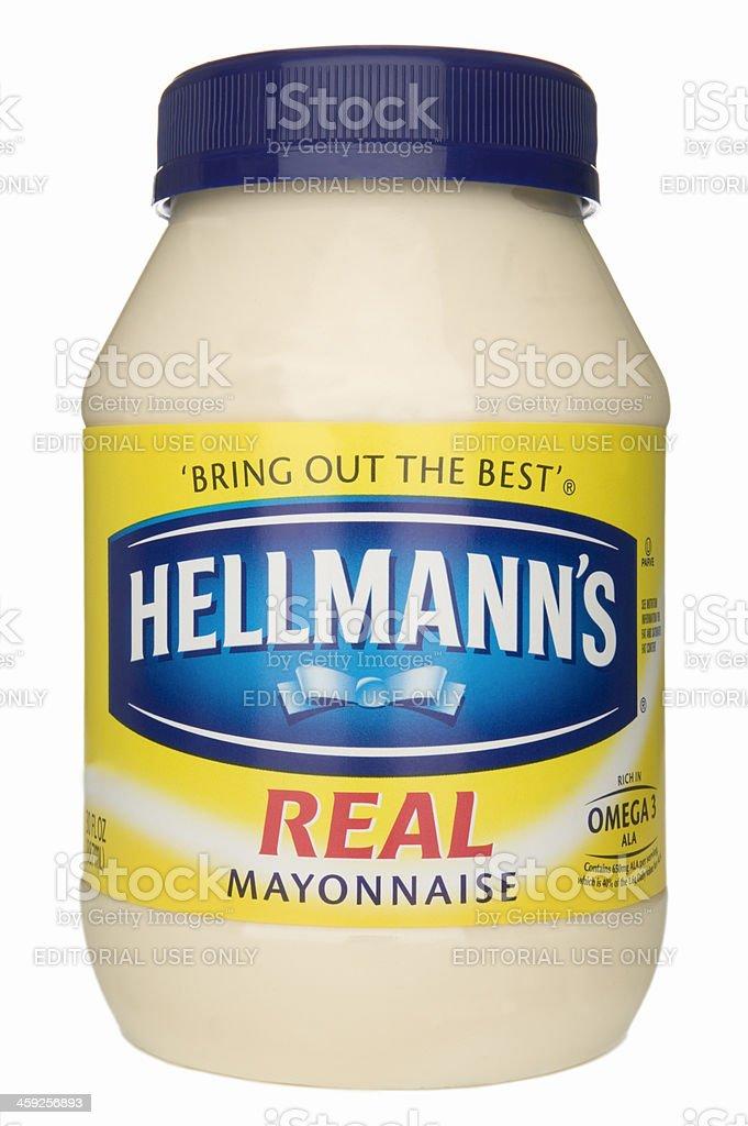 Jar of mayonnaise. stock photo