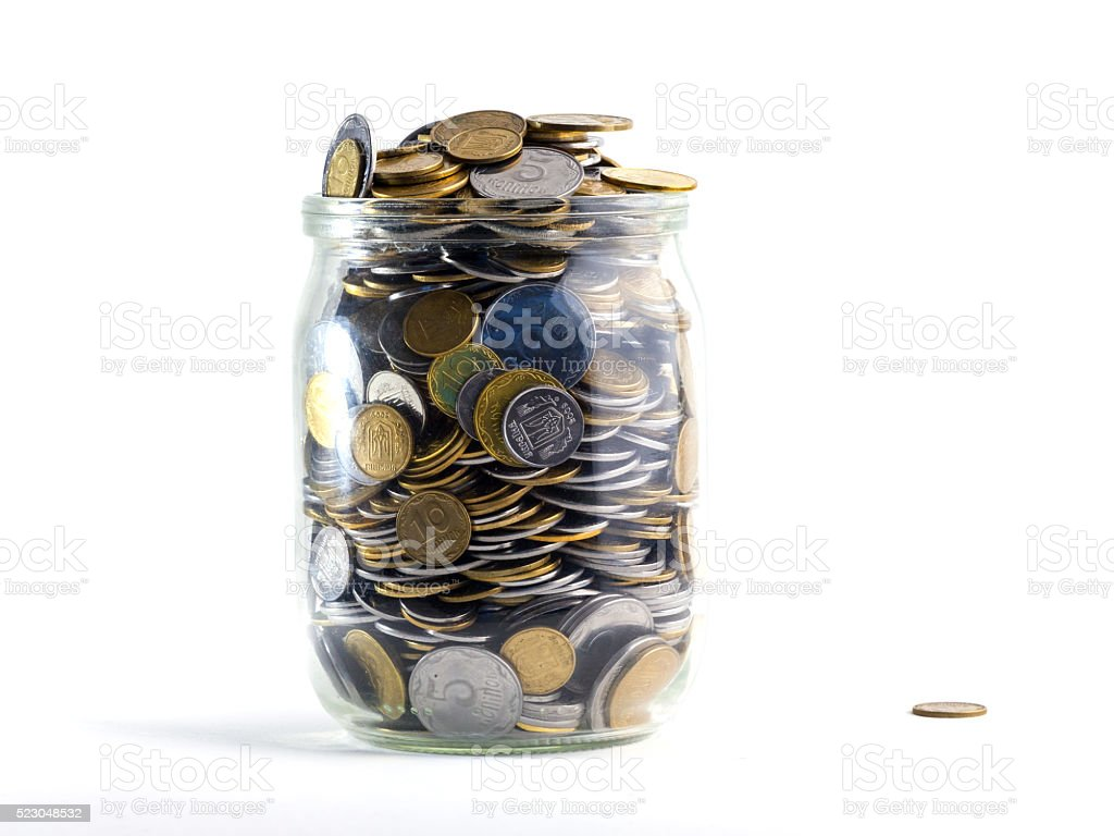 Jar of Money Isolated on a White Background stock photo