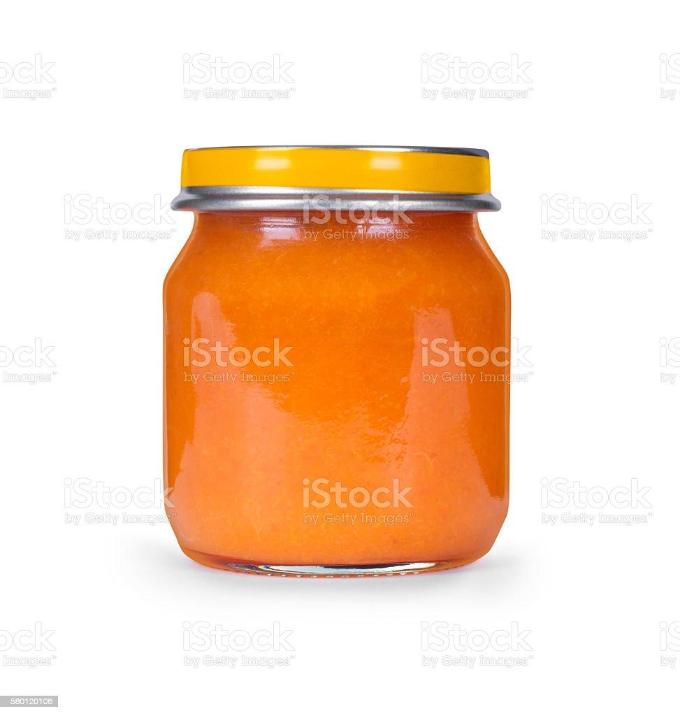 jar of orange jam against a white background stock photo