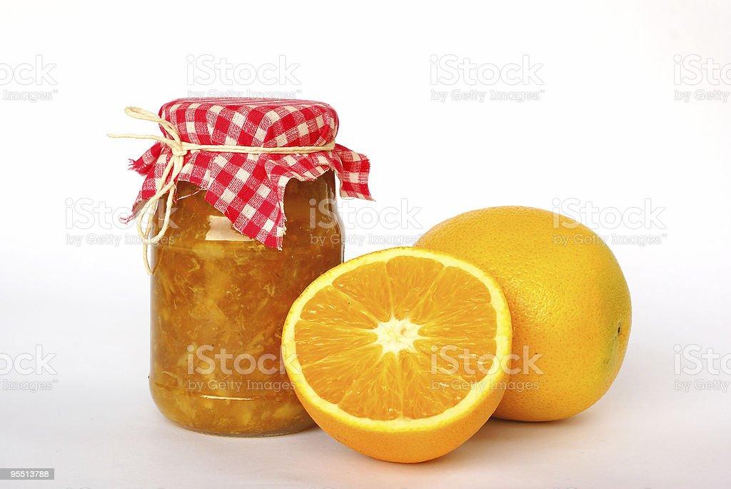 Jar of orange marmalade royalty-free stock photo