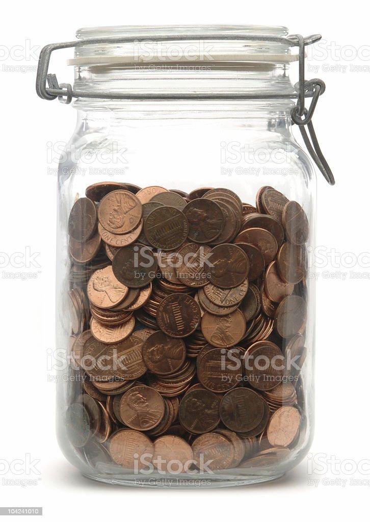 Jar of Pennies royalty-free stock photo