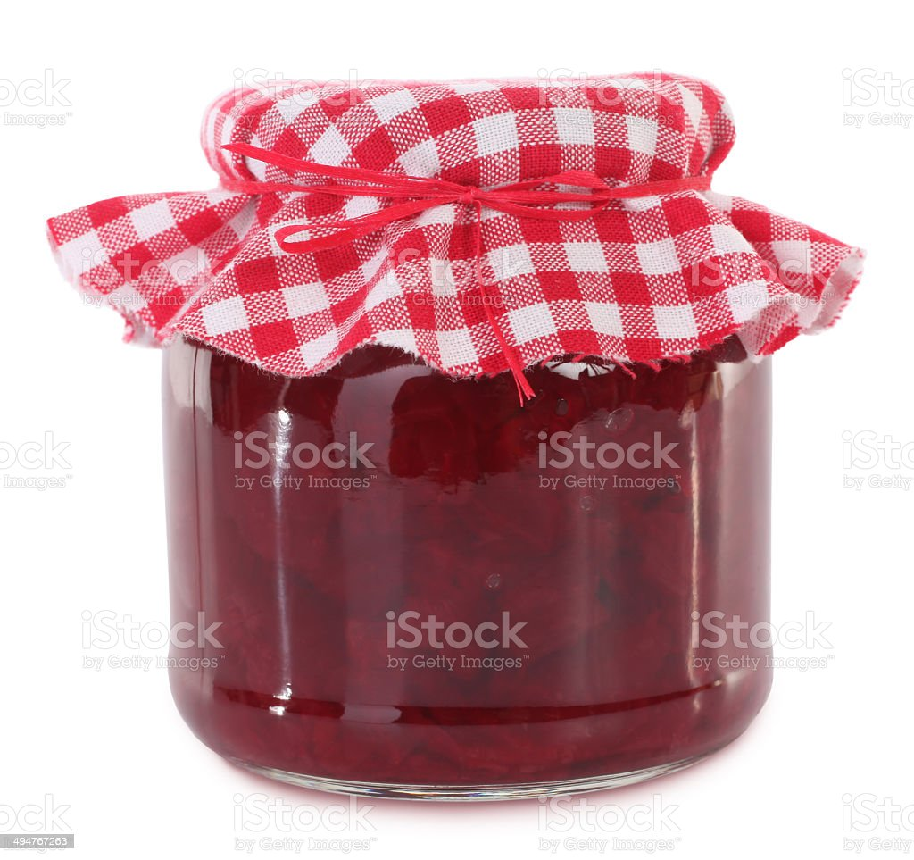 Jar of preserved beet root stock photo